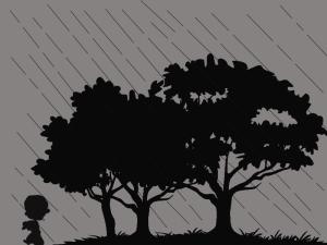 anak kecil  dan hujan